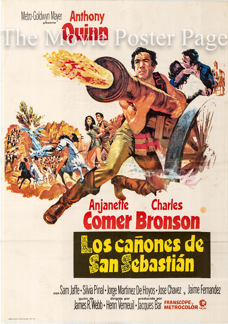 Pictured is a Spanish promotional one-sheet poster for the 1968 Henri Verneuil film Guns for San Sebastian starring Anthony Quinn.