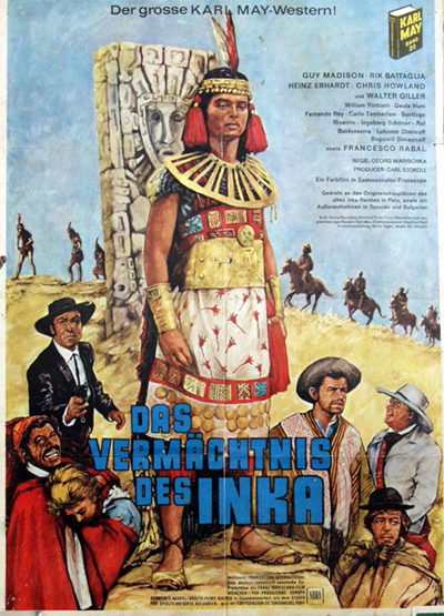 Pictured is a German promotional poster for the 1974 film The Legacy of the Inca starring Helmut Lange based on a novel by Karl May.