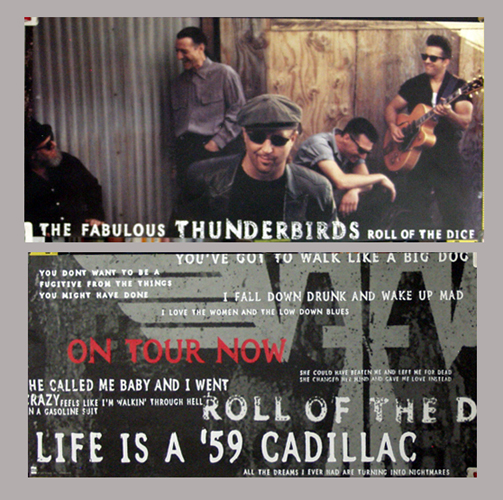 Pictured is a two-sided record promotional poster for the 1995 Fabulous Thunderbirds studio album Roll of the Dice.