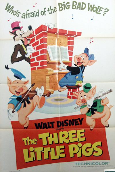 Pictured is a US promotional poster for a 1968 rerelease of the 1933 Walt Disney film The Three Little Pigs starring Billy Bletcher as the Big Bad Wolf.