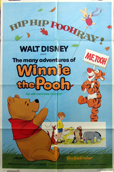 Pictured is a US promotional poster for the 1977 John Lounsbery and Wolfgang Reitherman film The Many Adventures of Winnie the Pooh starring Sebastian Cabot as the narrator.