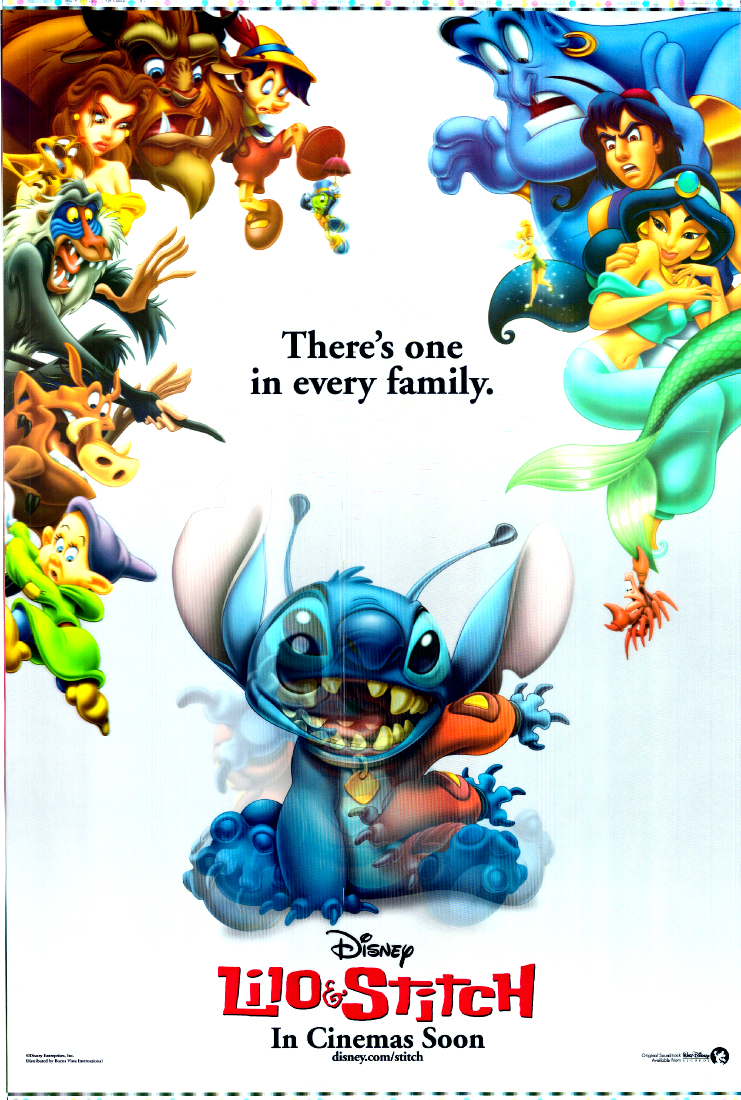 Pictured is a US promotional poster for the 2002 Disney animation film Lilo & Stitch starring Daveigh Chase as the voice of Lilo.