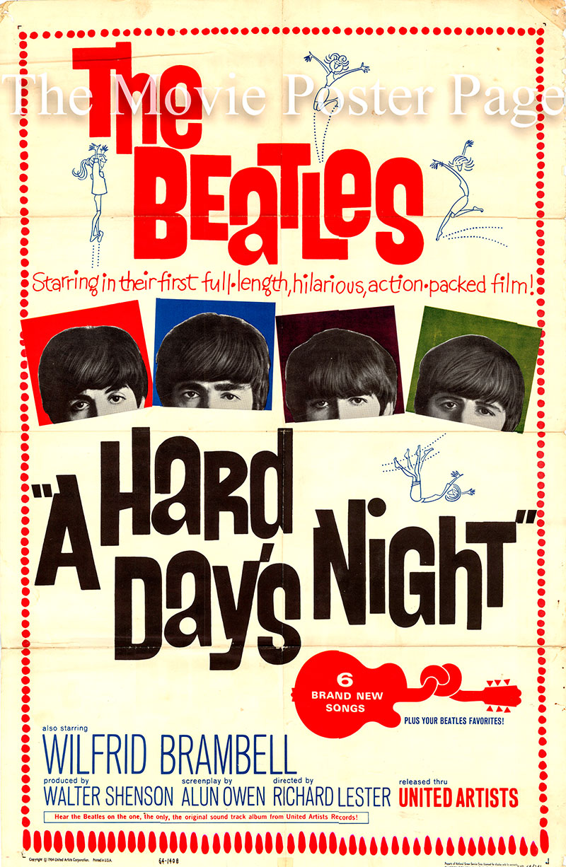 Pictured is a US one-sheet promotional poster for the 1964 Richard Lester film A Hard Day's Night starring the Beatles.