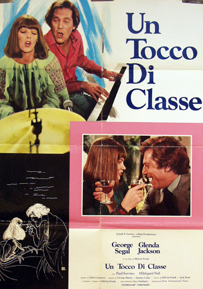 Pictured is an Italian one-sheet promotional poster for the 1973 Melvin Frank film A Touch of Class starring George Segal and Glenda Jackson.