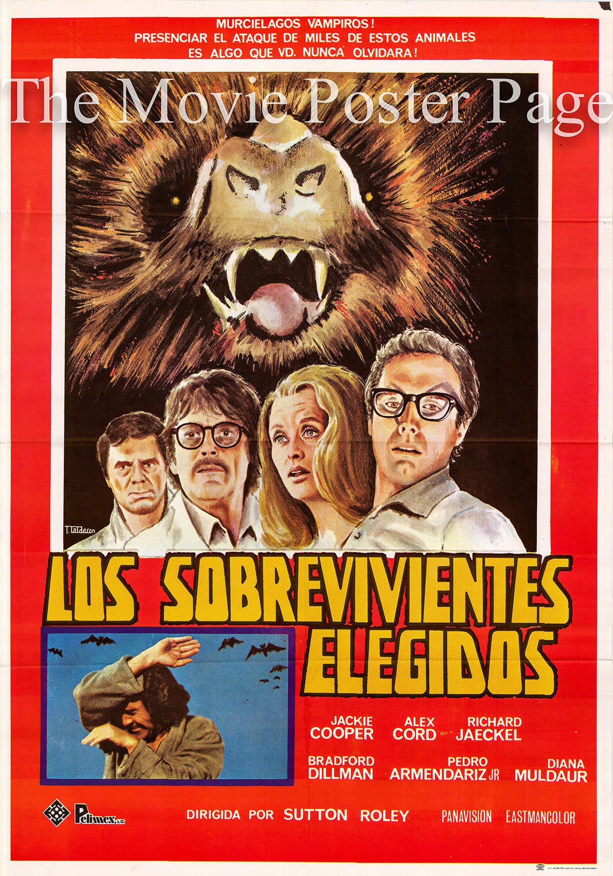 Pictured is a 1979 rerelease Spanish promotional poster for the 1974 Sutton Roley film Chosen Survivors starring Jackie Cooper.