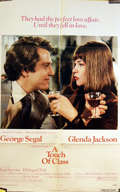 Pictured is a US one-sheet promotional poster for the 1973 Melvin Frank film A Touch of Class starring George Segal and Glenda Jackson.