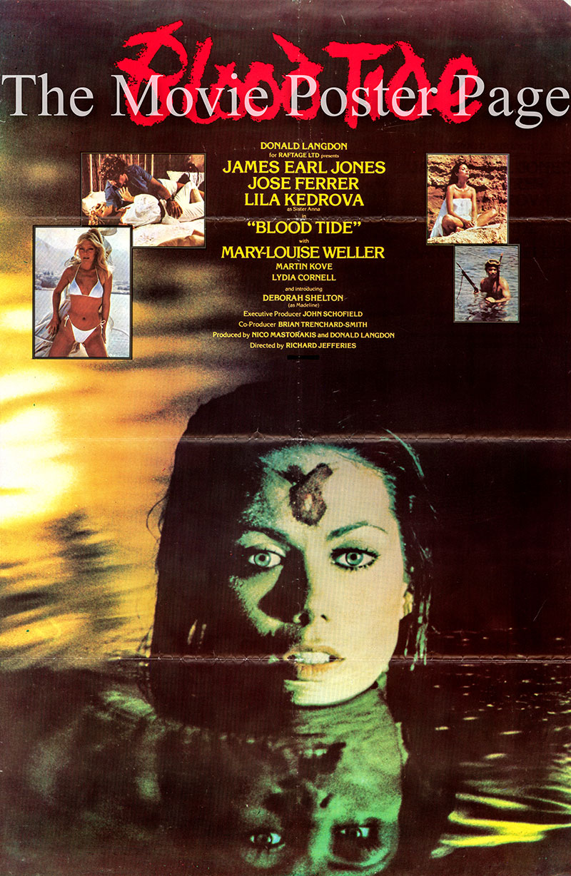 Pictured is a European promotional poster for the 1982 Richard Jeffries film Blood Tide starring James Early Jones.