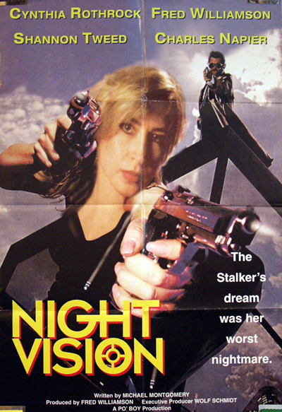 Pictured is a European commercial  poster for the 1997 Gil Bettman film Night Vision starring Cynthia Rockrock and Fred Williamson.