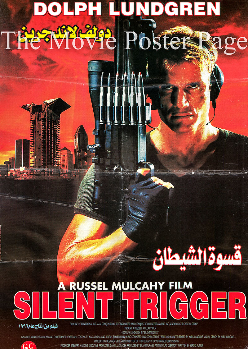 Pictured is an Egyptian promotional poster for the 1996 Russell Mulcahy film Silent Trigger starring Dolph Lundgren as shooter.