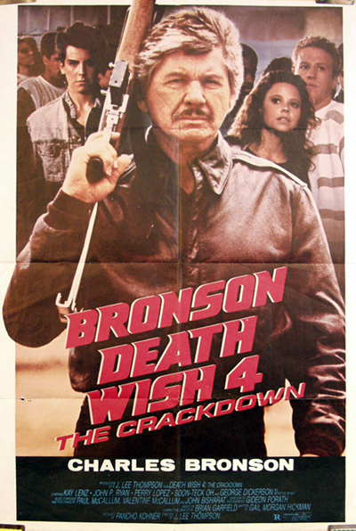 Pictured is a foreign one-sheet promotional poster for the 1987 J. Lee Thompson film Death Wish 4 starring Charles Bronson.