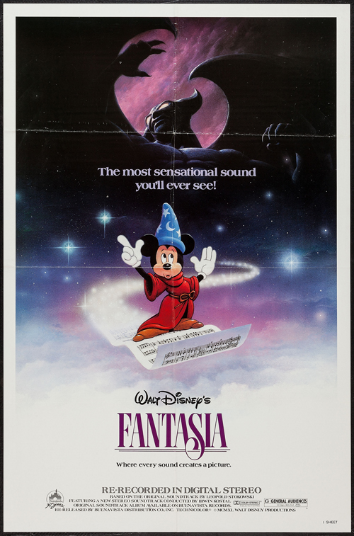 Pictured is a US promotional poster for a 1985 rerelase of the 1940 Disney animation film Fantasia with music by the Philadelphia orchestra conducted by Leopold Stokowski.