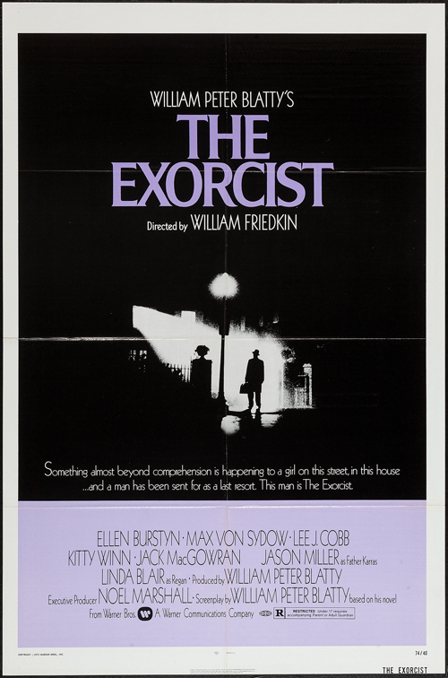 Pictured is a US one-sheet promotional poster for the 1973 William Friedkin film The Exorcist starring Ellen Burstyn and Linda Blair.