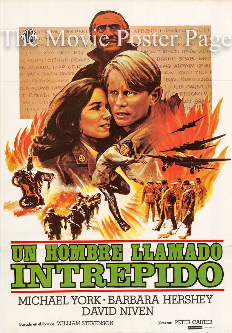 Pictured is a Spanish one-sheet promotional poster forthe 1979 Peter Carter TV series A Man Called Intrepid starring Michael York.