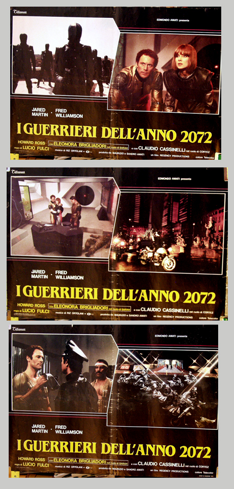 Pictured are three Italian photobusta promotional posters for the 1984 Lucio Fulci film The New Gladiators starring Jared Martin and Fred Williamson.