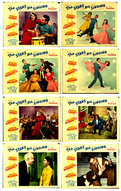 Pictured is a US lobby card set for the 1953 Norman Taurog film The Stars Are Singing starring Rosemary Clooney.