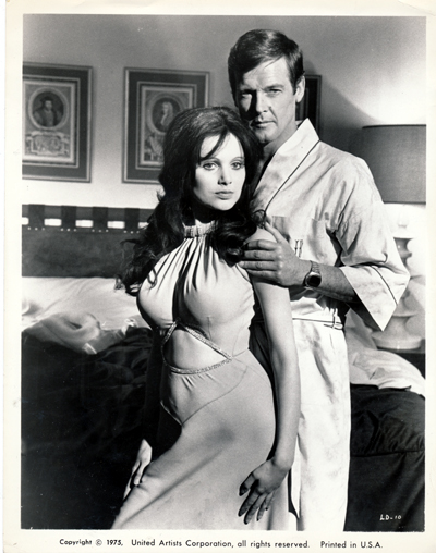 Pictured is a US promotional still photo from the 1973 Guy Hamilton film Live and Let Die starring Roger Moore.