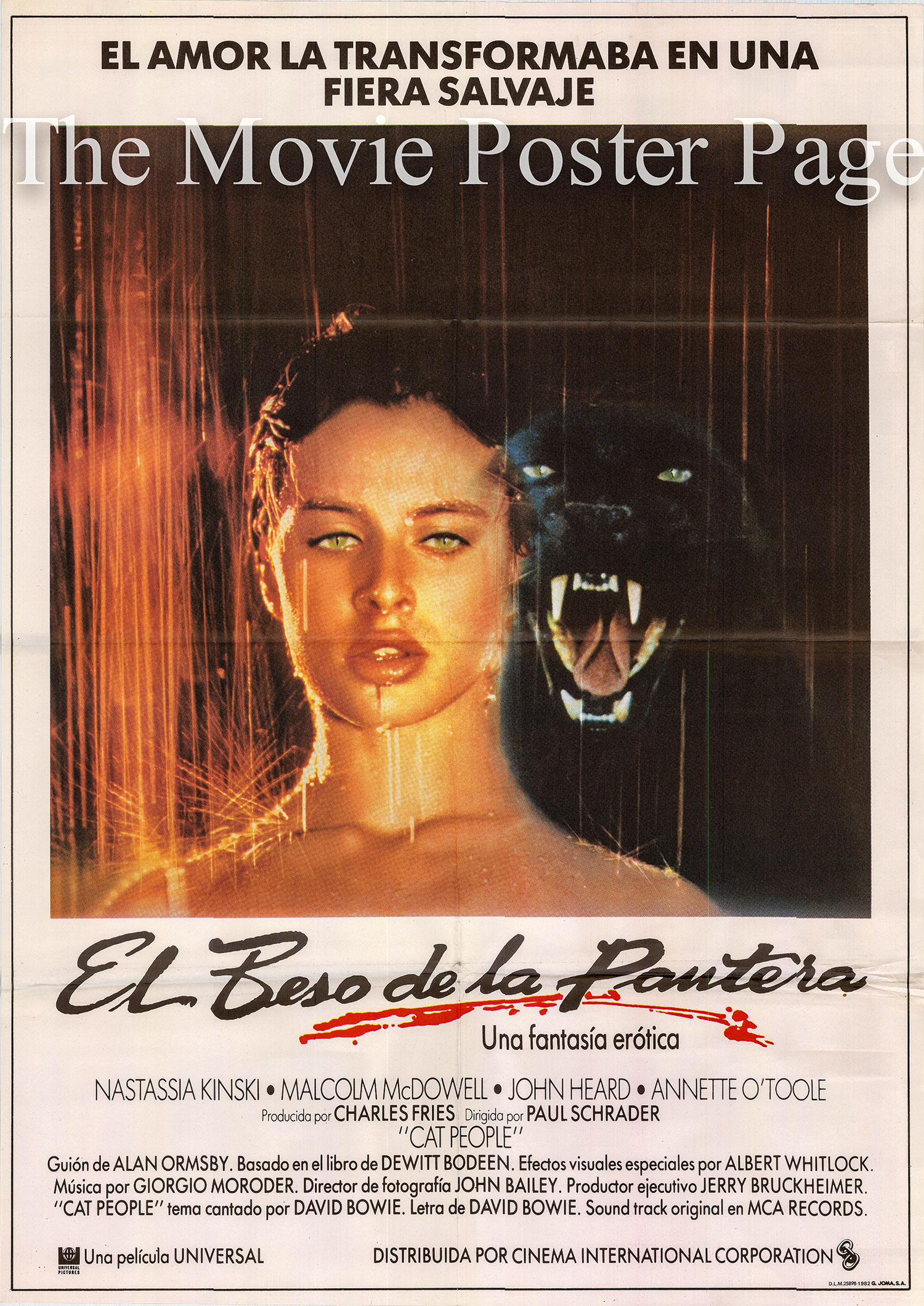 Pictured is a Spanish promotional one-sheet poster for the 1982 Paul Schrader film Cat People starring Nastassja Kinski.