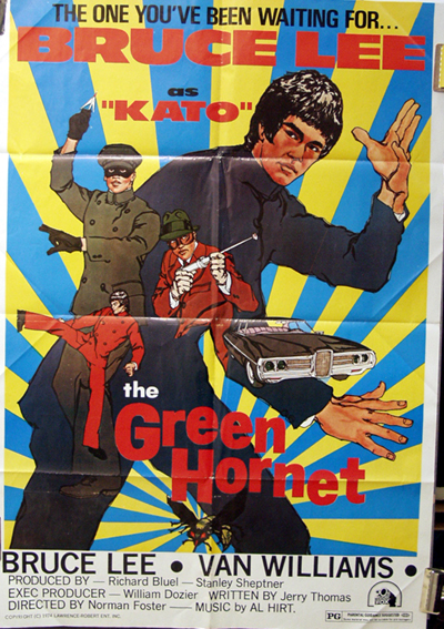 Pictured is a US one-sheet promotional poster for the 1947 William Beaudine film the Green Hornet starring Bruce Lee.