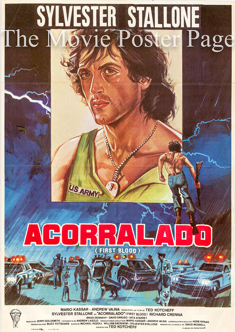 Pictured is a Spanish one-sheet poster for the 1982 Ted Kotcheff film Rambo 1st Blood starring Sylvester Stallone as John Rambo.