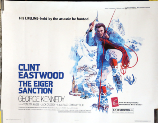 Pictured is a US half-sheet promotional poster for the 1975 Clint Eastwood film The Eiger Sanction starring Clint Eastwood.