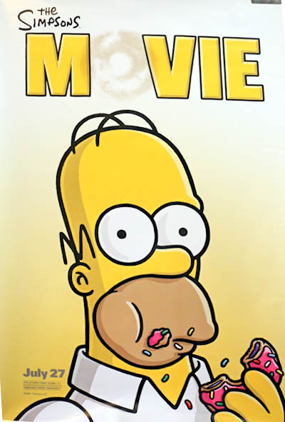 Pictured is a US Advance Homer Character promotional poster for the 2007 David Silverman film The Simpsons Movie starring Don Castellaneta as the voice of Homer, based on the writing of Matt Groening.