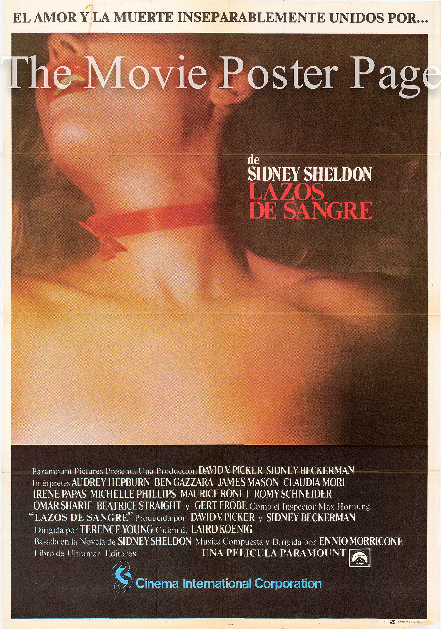 Pictured is a Spanish one-sheet poster for the 1979 Terence Young film Bloodline starring Audrey Hepburn as Eizabeth Roffe.