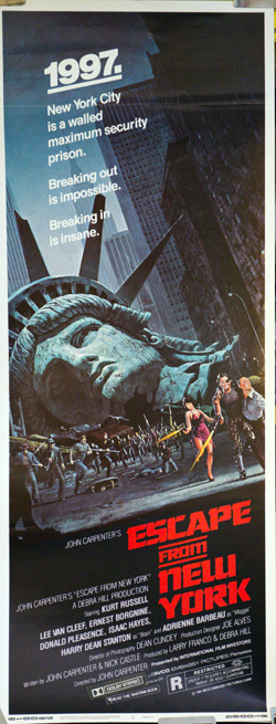 Pictured is a US insert promotional poster for the 1981 John Carpenter film Escape from New York starring Kurt Russell.