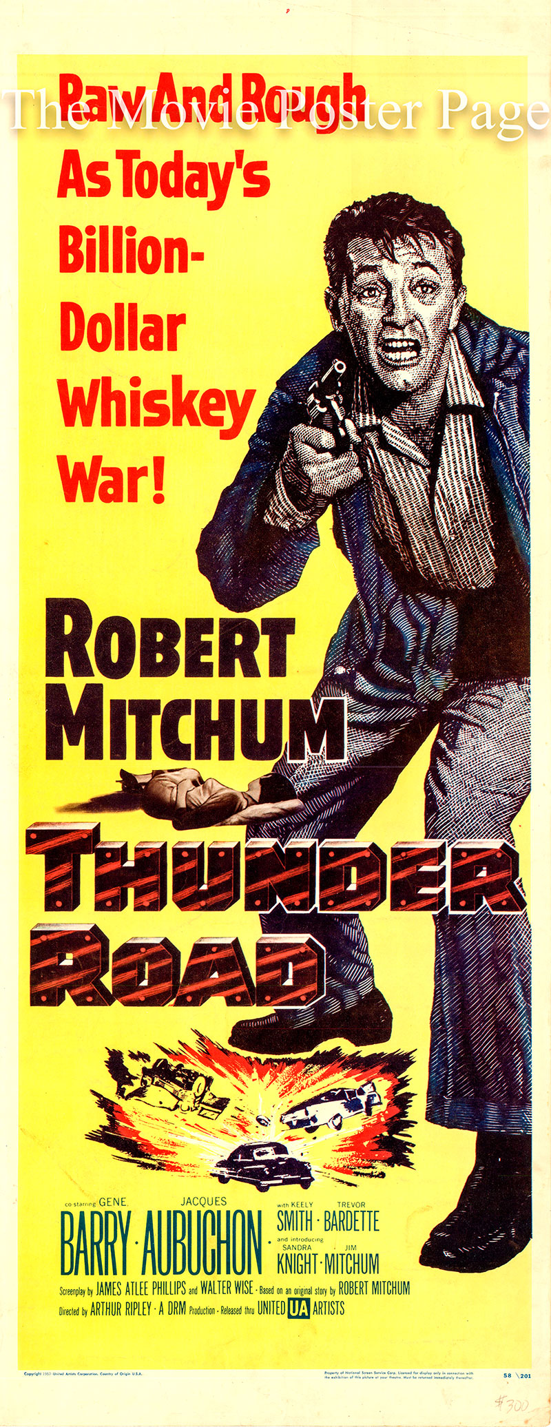 Pictured is a US insert promotional poster for the 1958 Arthur Riplee film Thunder Road starring Robert Mitchum.
