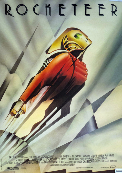 Pictured is a German promotional poster for the 1991 Joe Johnston film The Rocketeer starring Billy Campbell.
