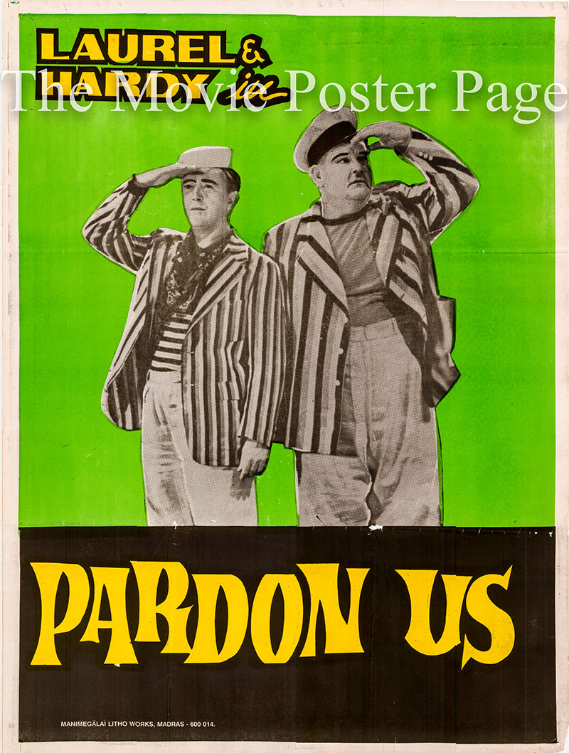 Pictured is an Indian promotional poster for the 1931 James Parrott film Pardon US starring Stan Laurel and Oliver Hardy.