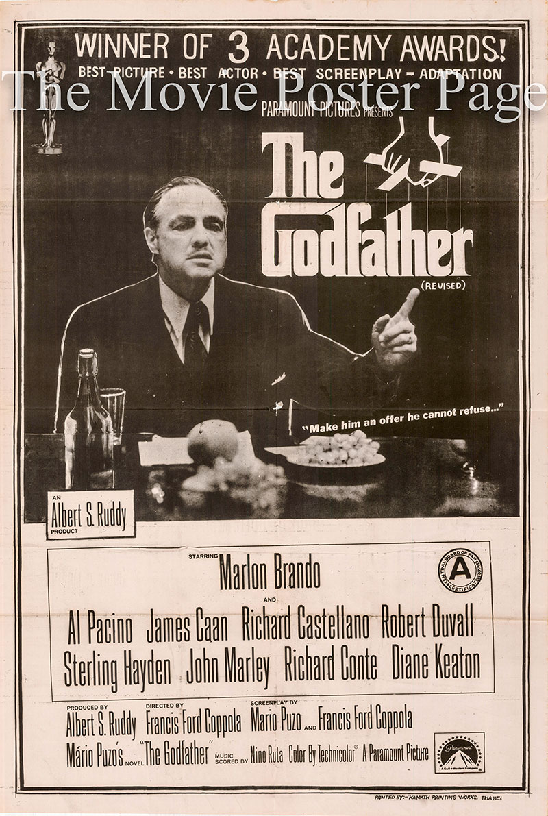 Pictured is an Indian Academy Awards one-sheet poster for the 1972 Francis Ford Coppola film The Godfather starring Marlon Brando.