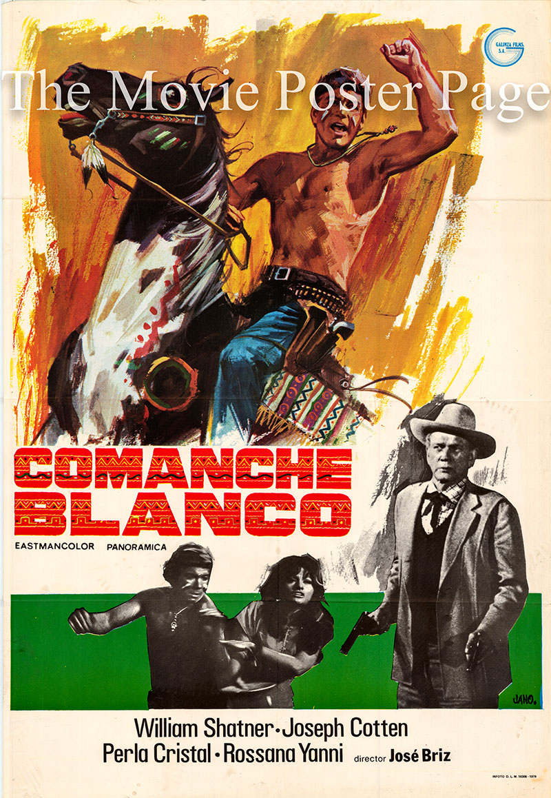 Pictured is a Spanish one-sheet poster for a 1979 rerelease of the 1968 Jose Briz Mendez film White Comanche starring Joseph Cotten as Sheriff Logan.
