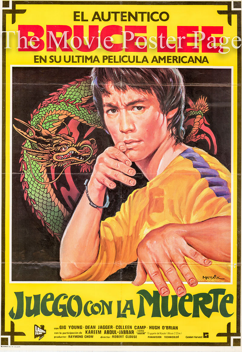 Pictured is a Spanish promotional poster for a 1983 rerelease of the 1978 Robert Clouse film Game of Death starring Bruce Lee.