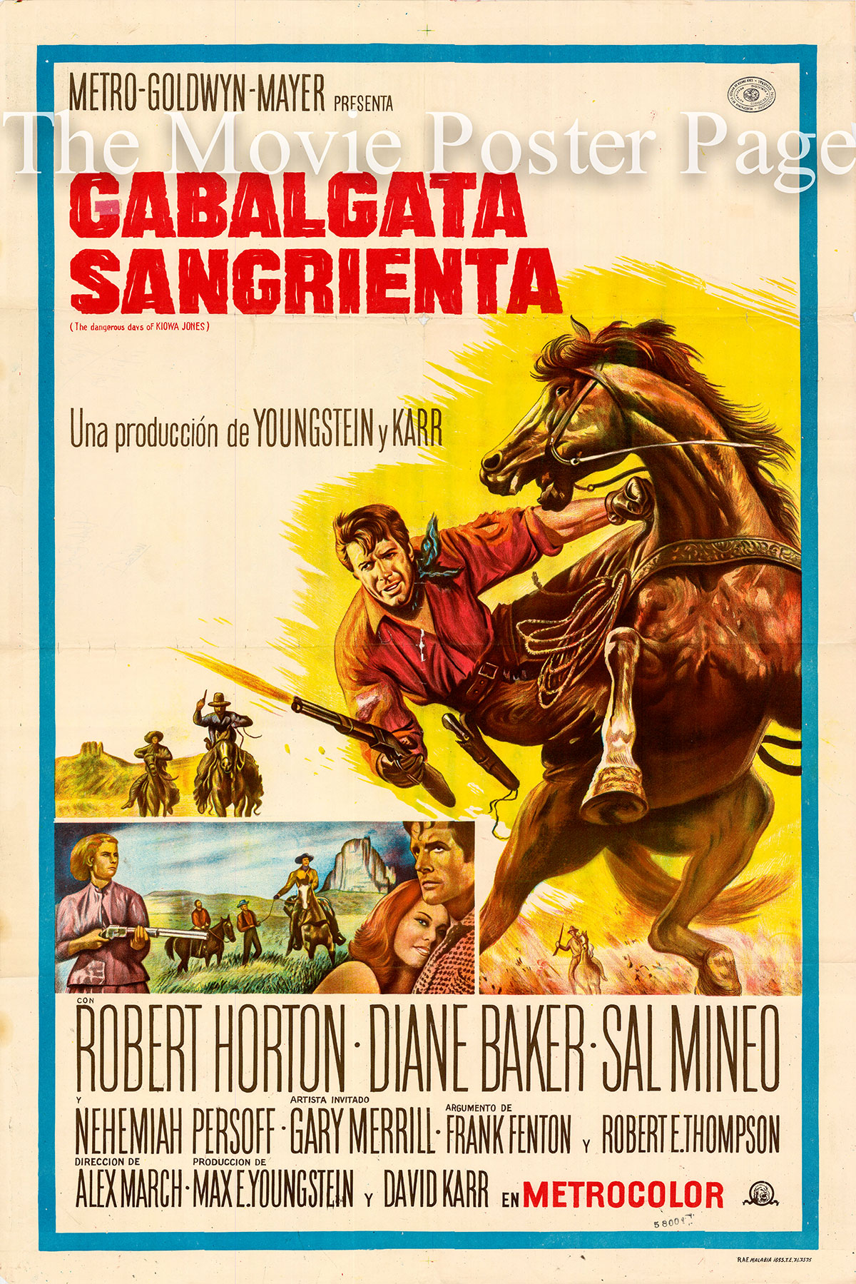 Pictured is an Argentine one-sheet poster for the 1966 Alex March film The Dangerous Days of Kiowa Jones starring Robert Horton as Kiowa Jones.