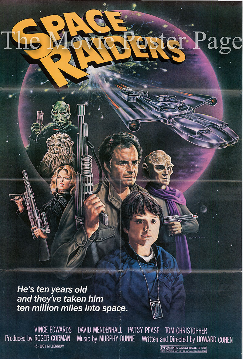 Pictured is a US one-sheet poster for the 1983 Howard Cohen film Space Raiders starring Vince Edwards.