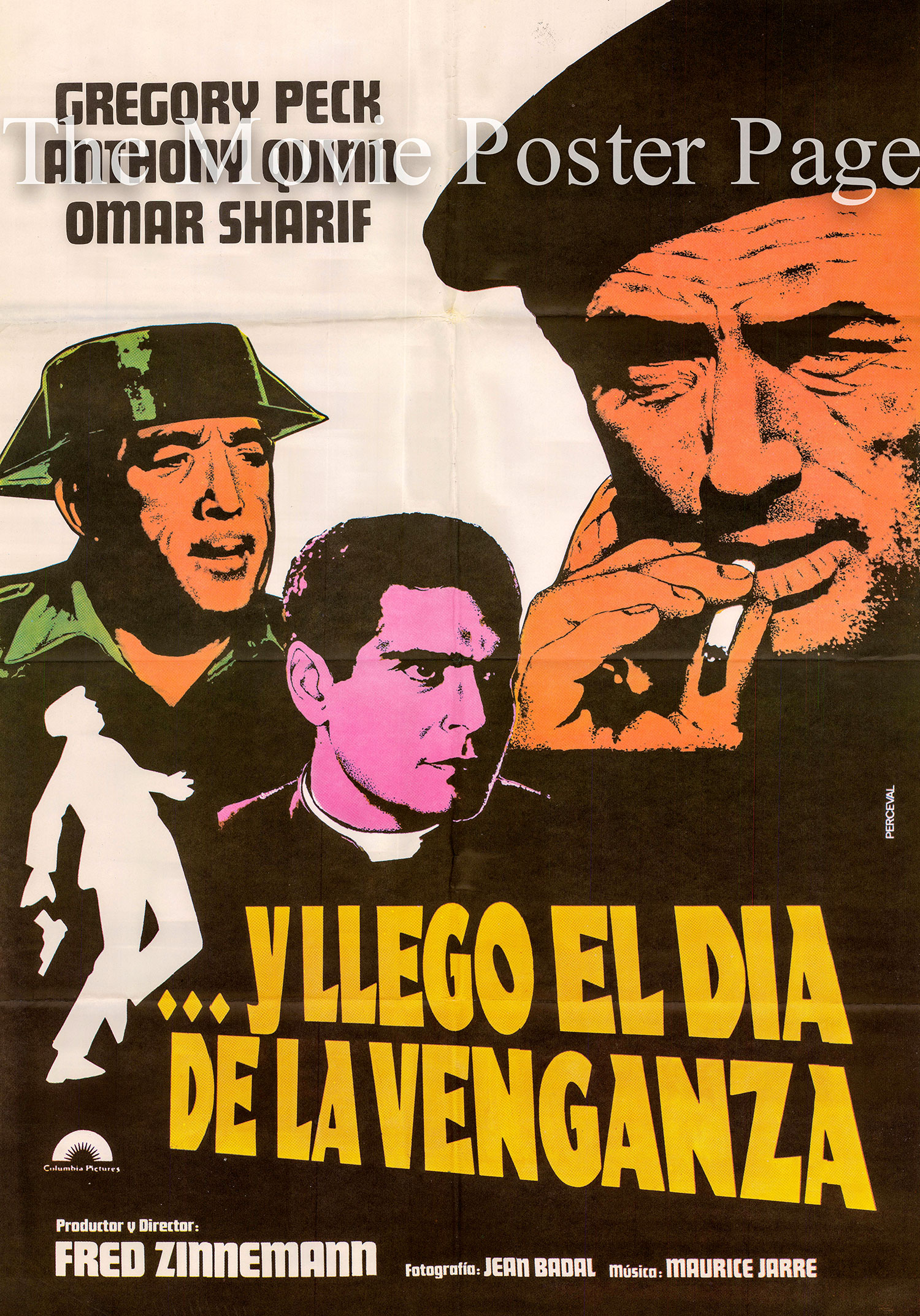 Pictured is a Spanish one-sheet poster for an undated rerelease of the 1964 Fred Zinneman film Behold a Pale Horse starring Gregory Peck.