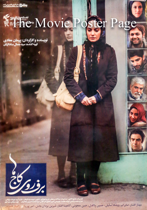 Pictured is an Iranian promotional poster for the 2013 Peyman Moaadi film Snow on the Pines starring Mahnaz Afshar.