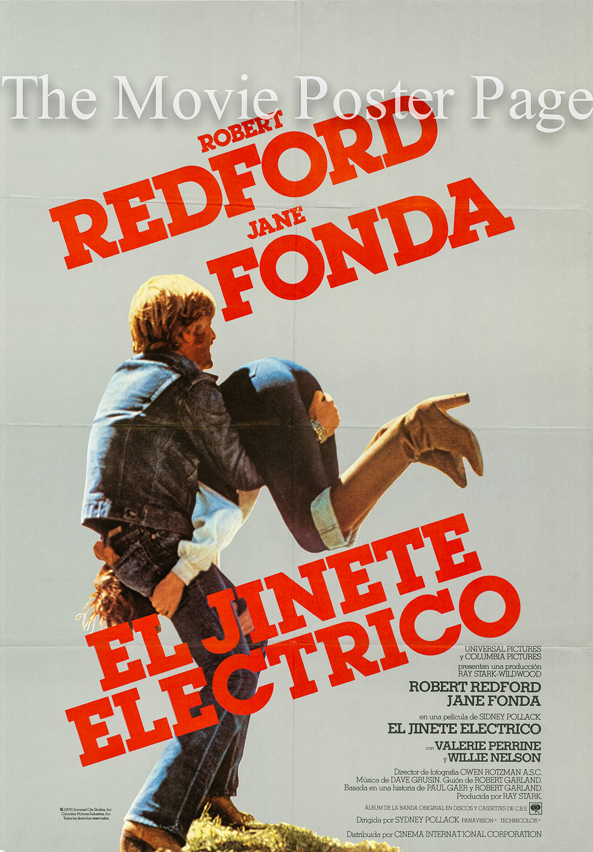 Pictured is a Spanish one-sheet poster for the 1979 Sydney Pollack film Electric Horseman starring Robert Redford as Sonny Steele.