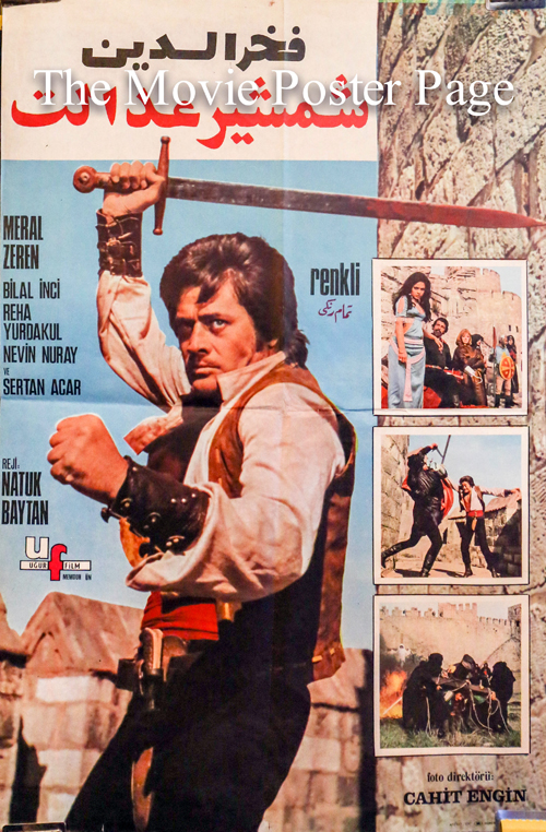 Pictured is a Turkish promotional poster for the 1973 Natuk Baytan film Battal Gazi's Revenge starring Cuneyt Arkin.