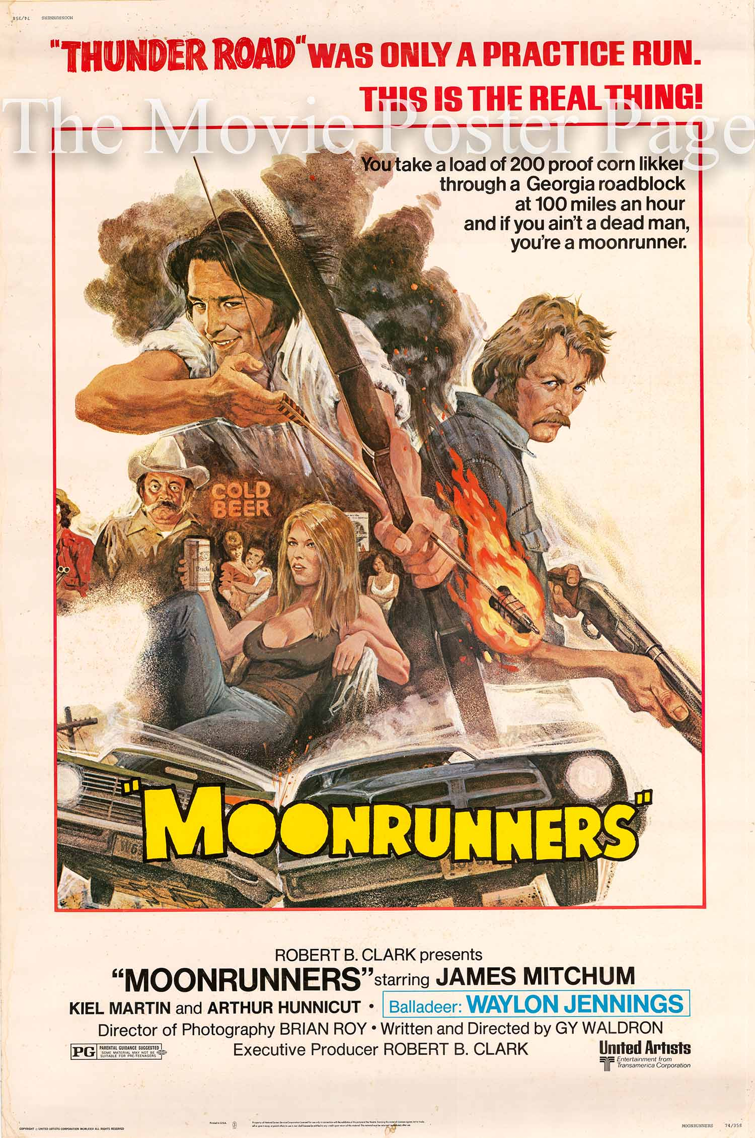Pictured is a US 40x60 promotional poster for the 1974 Gy Waldron film Moonrunners starring James Mitchum.