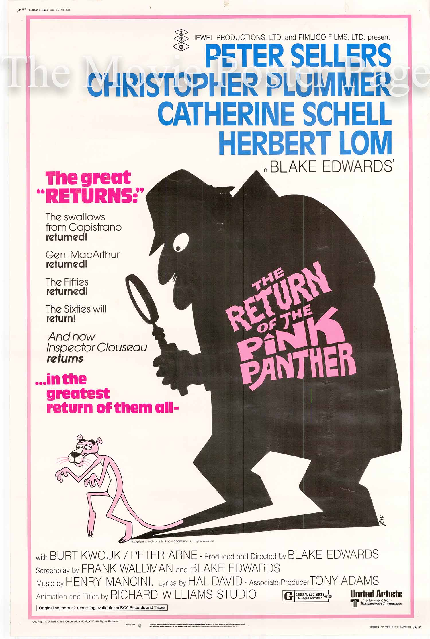 Pictured is a US 40x60 promotional poster for the 1975 Blake Edwards film The Return of the Pink Panther starring Peter Sellers.