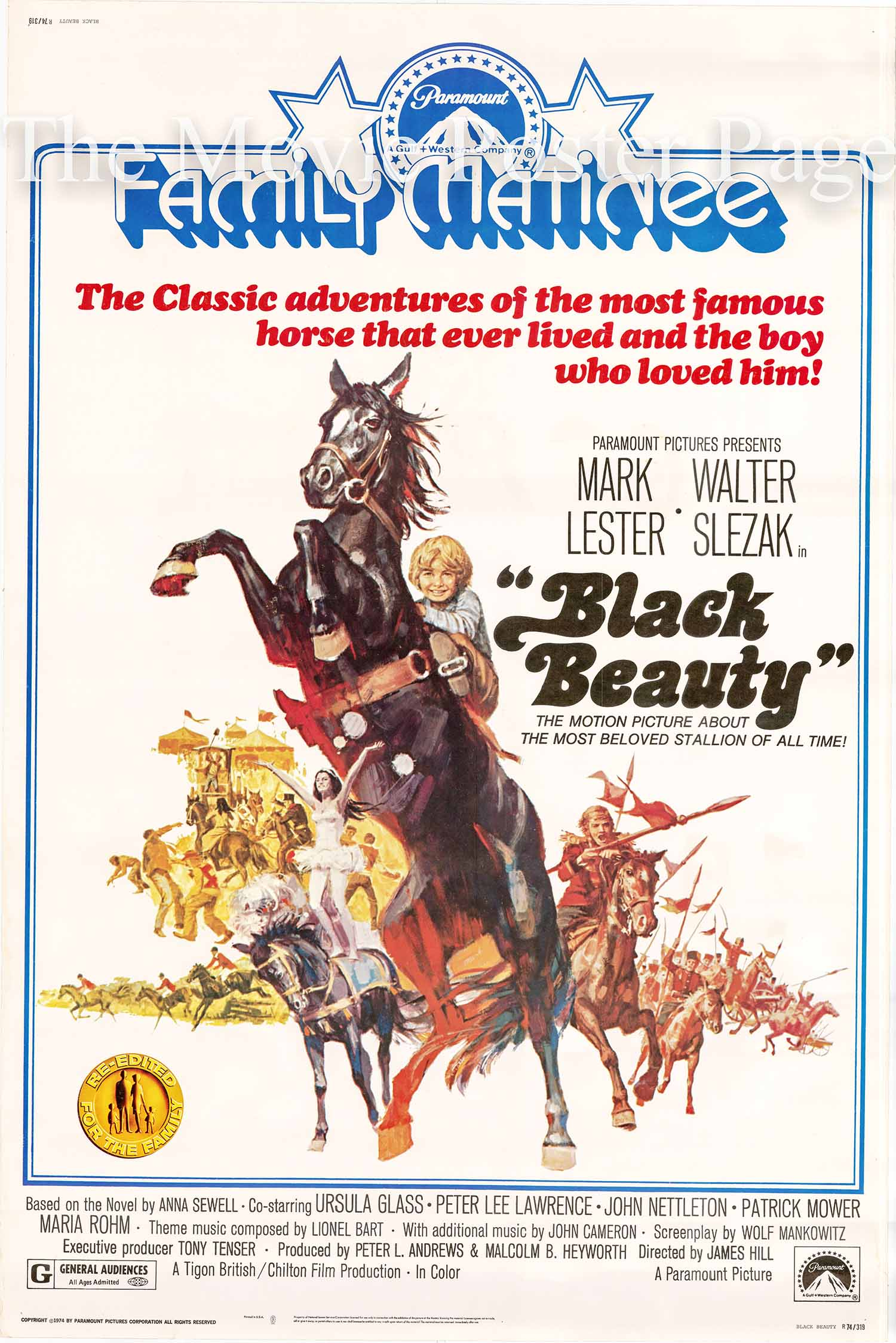 Pictured is a US 40x60 promotional poster for a 1974 rerelease of othe 1971 James Hill film Black Beauty starring Mark Lester.