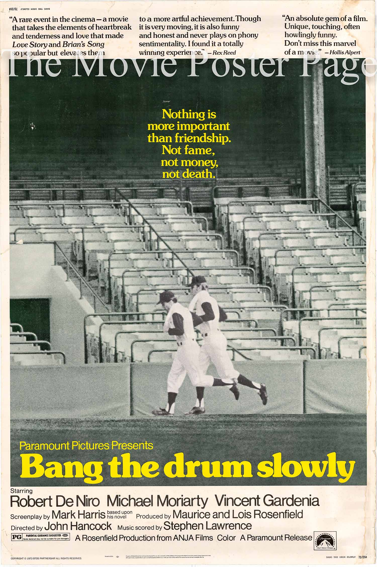Pictured is a US 40x60 promotional poster for the 1973 john D. Hancock film Bang the Drum Slowly starring Robert De Niro.