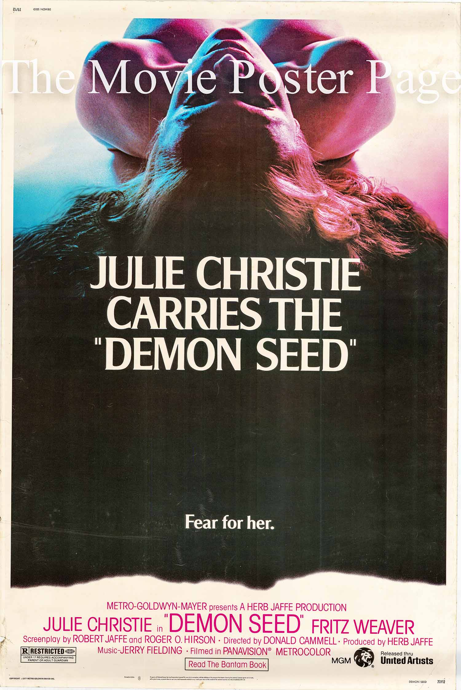 Pictured is a US 40x60 promotional poster for the Donald Cammell film Demon Seed starring Julie Christie.