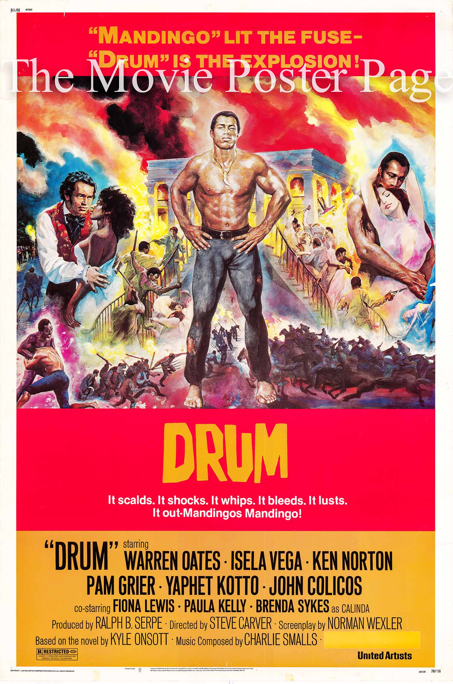 Pictured is a US one-sheet promotional poster for the 1976 Steve Carver film Drum starring Ken Norton and Warren Oates.