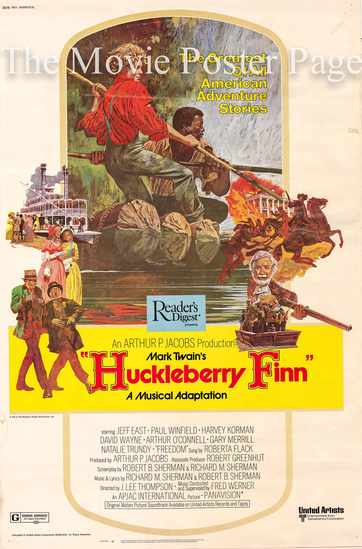 Pictured is a US 40x60 promotional poster for the 1974 J. Lee Thompson film Huckleberry Finn starring Jeff East.