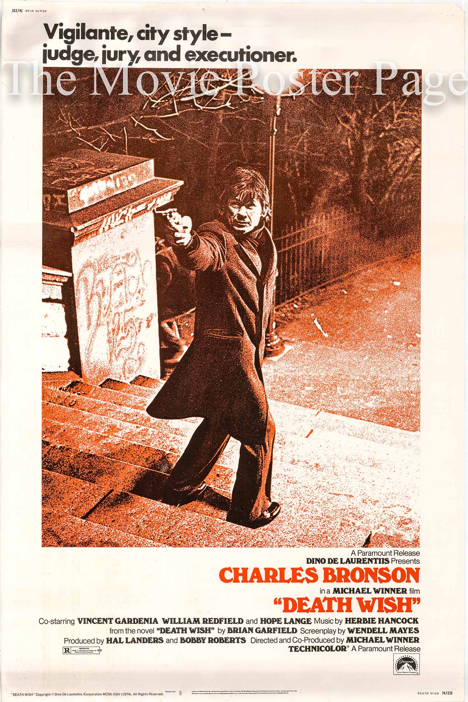 Pictured is a US 40x60 promotional poster for the 1974 Michael Winner film Death Wish starring Charles Bronson.