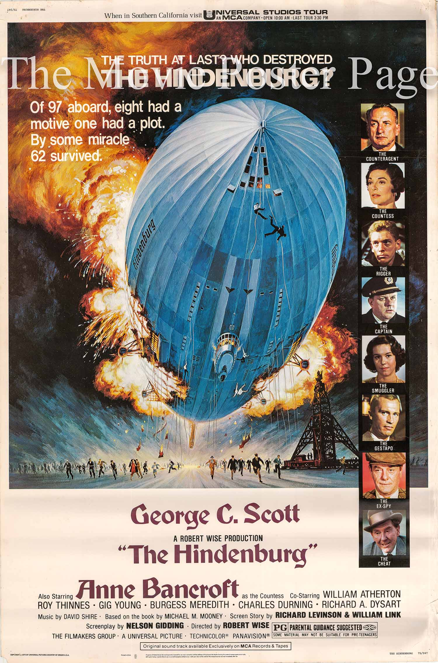 Pictured is a US 40x60 promotional poster for the 1975 Robert Wise film The Hindenburg starring George C. Scott.