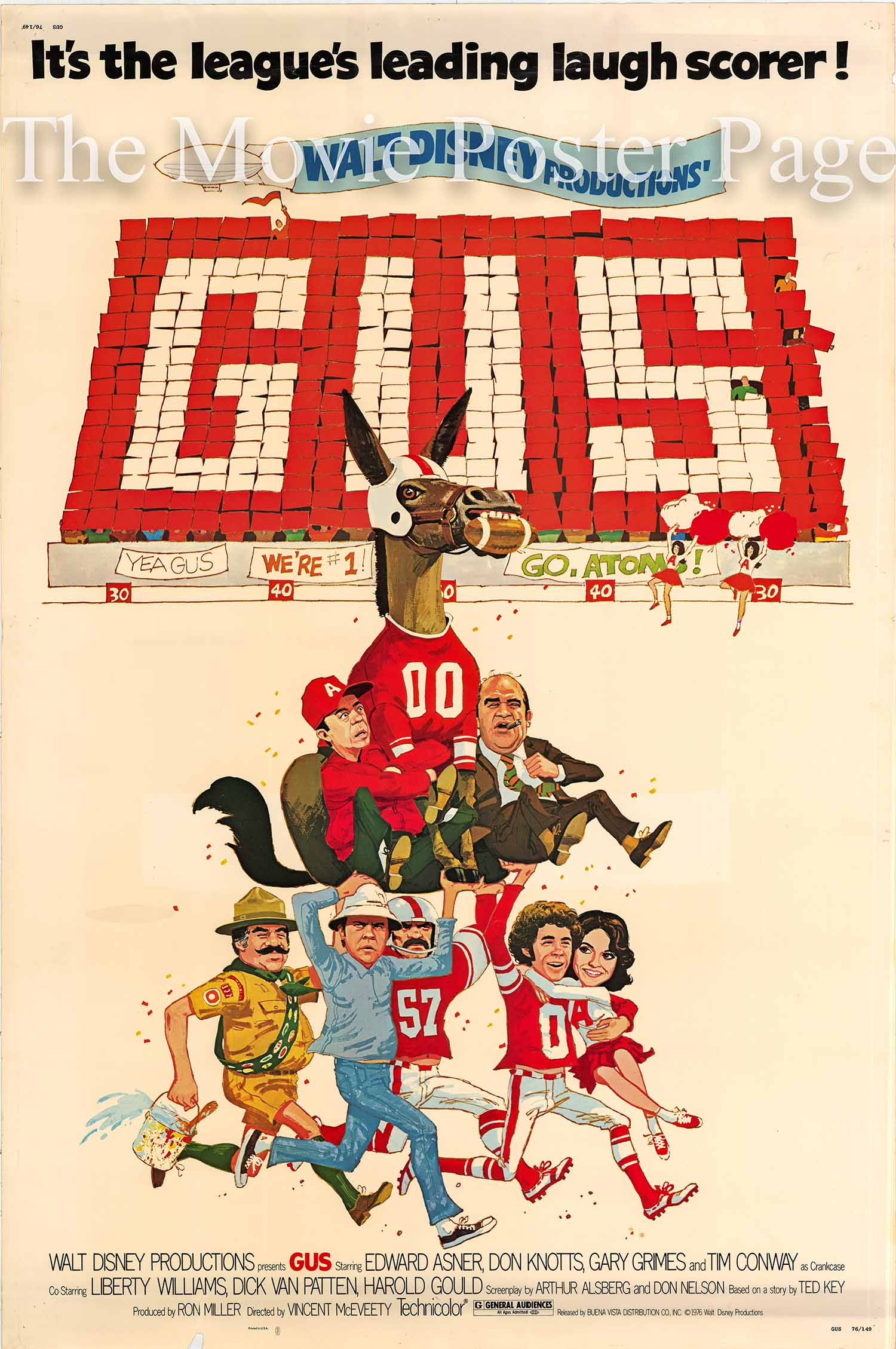 Pictured is a US 40x60 poster for the 1976 Vincent McEveety film Gus starring Don Knotts.