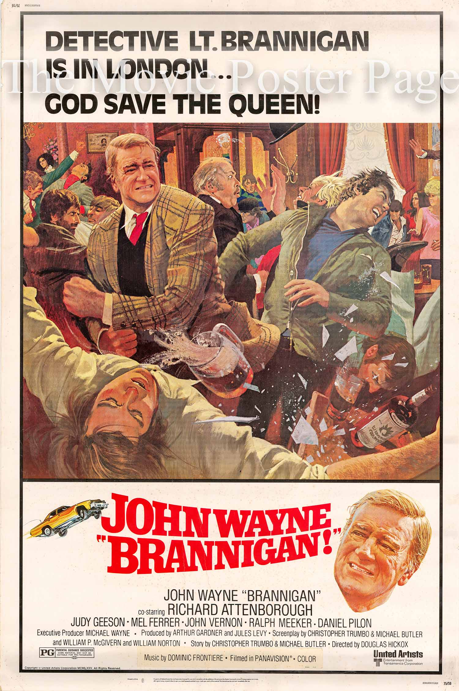 Pictured is a US 40x60  promotional poster for the 1975 Douglas Hickox film Brannigan starring John Wayne..